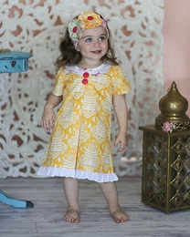 "Giggle Moon ""Honeycomb and Blossoms"" Bella Bow Dress - NEW STYLE"