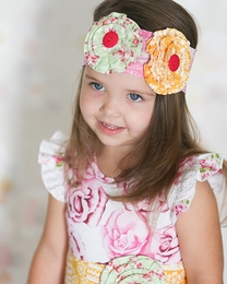 "Giggle Moon ""Honeycomb and Blossoms"" Colorful Flowerette Soft Knit Headband"