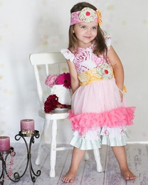 "Giggle Moon ""Honeycomb and Blossoms"" Stunning Tutu Dress & Crops Two Piece Set <br>"