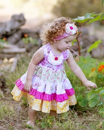 "Giggle Moon ""Honeycomb and Blossoms"" Tiered Party Dress"