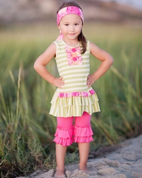 "Giggle Moon ""Morning Glory"" Beautiful Pink & Floral Emma Dress and Capri Pant Two Piece Set"