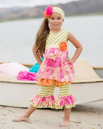 "Giggle Moon ""Morning Glory"" Madison Dress & Wide Leg Ruffle Capri Two Piece Set<br>Sizes 12M-6X"