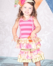 "Giggle Moon ""Morning Glory"" Pink & Green Striped Two Piece Swing Set"