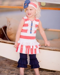 "Giggle Moon ""New Song"" Striped Emma Dress with Ruffle Capri Leggings *PREORDER*<br>Sizes 12M-10"