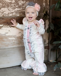"Giggle Moon Pink & Gray *Graced"" Baby Longall"