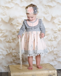 "Giggle Moon Pink & Gray *Graced"" Greta Dress"