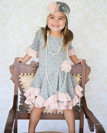 "Giggle Moon Pink & Gray *Graced"" Hanky Dress"