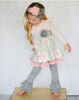 """Giggle Moon Pink & Gray *Graced"""" Maddison Two Piece Dress & Legging Set SOLD OUT!"""