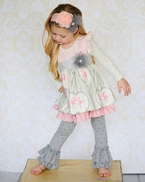 "Giggle Moon Pink & Gray *Graced"" Maddison Two Piece Dress & Legging Set"