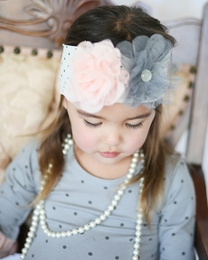 "Giggle Moon Pink & Gray *Graced"" Soft Knit Headband"