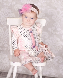 """Giggle Moon Pretty Pink & Grey """"Graced"""" Baby Longall<br>*PREORDER*"""