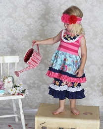 """Giggle Moon """"Pure In Heart"""" Navy & Hot Pink Stella Dress & Ruffle Capri Two Piece Set """"PREORDER"""""""