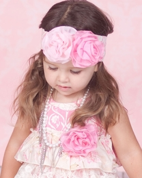 "Giggle Moon ""Simply Beautiful"" Rose Print with Flowerettes Soft Knit Headband<br>Sizes Infant & Toddler"