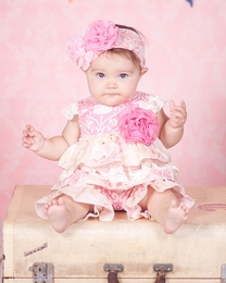 "Giggle Moon ""Simply Beautiful"" Pink Baby Shortall<br>Sizes 3M-12M"