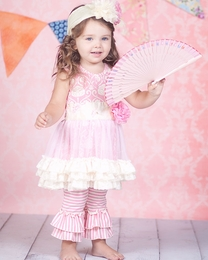 "Giggle Moon ""Simply Beautiful"" Stunning Tutu Dress & pants Two Piece Set"