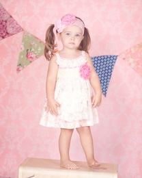 "Giggle Moon ""Simply Beautiful"" Tillie Soft Pink Apron Dress<br>Sizes 2T-8"