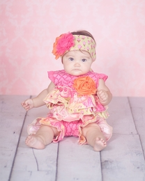 "Giggle Moon Stunning Pink & Yellow ""Morning Glory"" Shortall<br>Sizes 3M-9M"