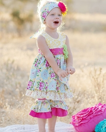 "Giggle Moon ""Sweet as Honey"" Madison Dress & Crops Two Piece Set *PREORDER*<br>Sizes 12M-8"