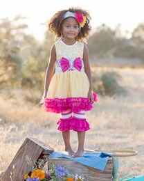 "Giggle Moon ""Sweet as Honey"" Stunning Yellow Tutu Dress & Legging Two Piece Set *PREORDER*<br>Sizes 12M-6X"