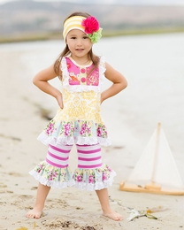 "Giggle Moon ""Sweet as Honey"" Two Piece Top & Striped Swing Set *PREORDER*<br>Sizes 12M-6X"