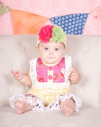 "Giggle Moon ""Sweet as Honey"" Yellow & Hot Pink Baby Shortall *PREORDER*<br>Sizes 3M-9M"