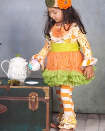 "Giggle Moon ""Thankful Hearts"" Gorgeous Tutu Dress with Legging Two Piece Set"