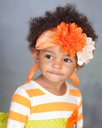 "Giggle Moon ""Thankful Hearts"" Pumpkin & Ivory Head Wrap"