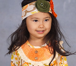 "Giggle Moon ""Thankful Hearts"" Soft Knit Pumpkin Headband"