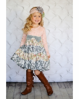 "Giggle Moon ""Tree of Life"" Pale Pink Bow Party Dress"