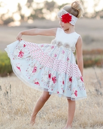 "Giggle Moon ""Wedding Bells"" Empire Waist Party Dress *PREORDER*<br>Sizes 12M-8"
