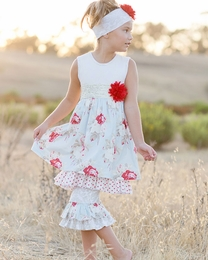 "Giggle Moon ""Wedding Bells"" Madison Dress & Ruffle Capri Two Piece Set<br>Sizes 12M-8"