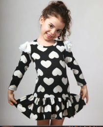 "Halabaloo Black and Ivory Drop Waist ""All Over Heart Dress"" *FINAL SALE*"