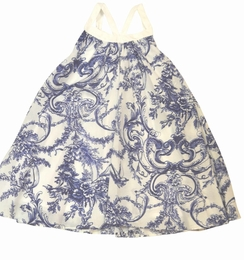 Halabaloo Gorgeous Navy and White Printed Dress