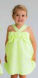 Halabaloo Fabulous Spring Jacquard Neon Lime Big Bow Dress<br>Sizes 2T - 8