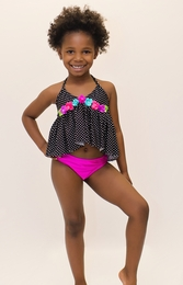 Love U Lots Black Dotted Flower Trim Two Piece Tankini