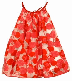 Halabaloo Red All Over Flower Dress w/Overlay
