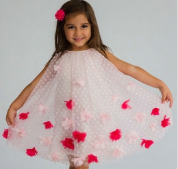 Halabaloo Pink Dot Flare Dress with Flowettes *PREORDER*<br>Sizes 2T - 10