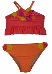Love U Lots Coral Shimmer Ruffle Top Tankini-UPF 50+!<br>Sizes 2T - 6X