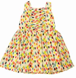 Halabaloo Summery Fun Multicolored Brushstroke Dress