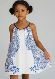 Halabaloo White and Blue Print Flare Dress *PREORDER*<br>Sizes 4-10