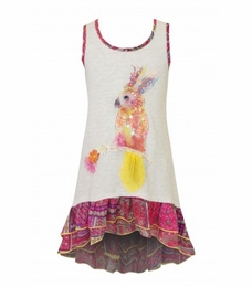 "Hannah Banana ""Animal Planet"" Ivory Dress w/Sequin Parrot"