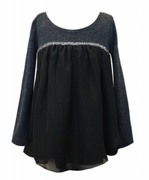 Hannah Banana Black Ooh La La Rhinestone Trimmed Baby Doll Fancy Top