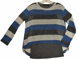 Hannah Banana Blue & Grey Top Secret TwoFer Sweater Top *PREORDER*