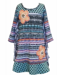 Hannah Banana Catcha Dream Fringe Trim Dress w/Flower Embroidery