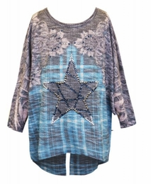 Hannah Banana Dolman Sleeve Top w/Star Printed Front