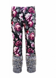 Hannah Banana Floral Leggings w/Faux Fur Cuff