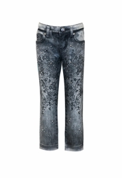 """Hannah Banana """"Fluffy Extra"""" Vintage Wash Jeans With Rhinestones *FINAL SALE*"""