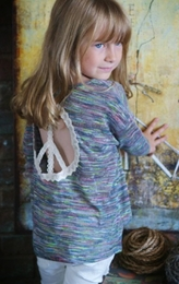 "Hannah Banana Back To School ""Mosaic Nation"" Peace Cutout Top"