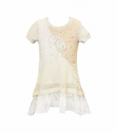 Hannah Banana Ivory Embroidered Tunic<br>Sizes 7 - 12