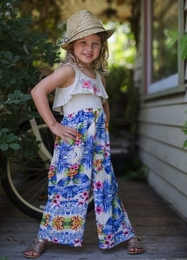 Hannah Banana Must Have High Waist Jumpsuit with Flower Yoke *PREORDER*